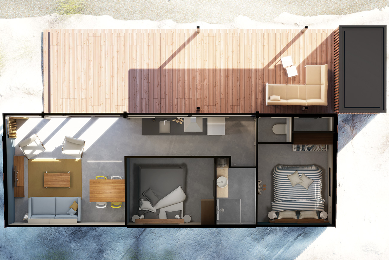 Qurios Ameland bungalow plattegrond